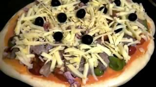 Пицца с грибами и курицей  Домашняя кулинария