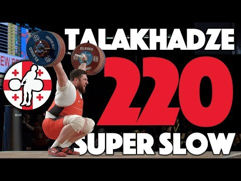 Lasha Talakhadze 220kg Snatch World Record Super Slow Mo (105kg+, Georgia) [4k]