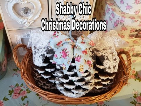 Christmas Pine Cone Decorations  Shab Chic Easy Craft & great for kids