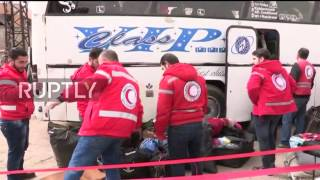 Syria  Buses transport opposition fighters and families from Homs