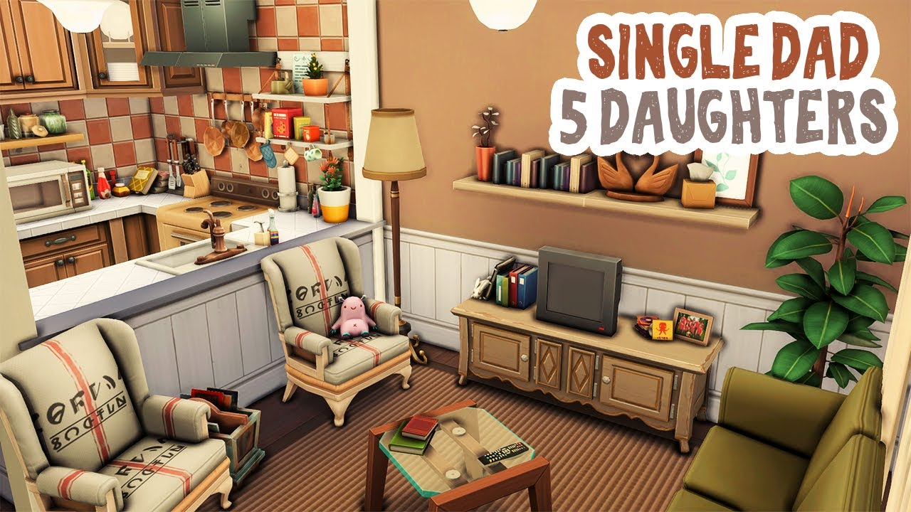 Single Dad and 5 Daughters 🧸 || The Sims 4 Apartment Renovation: Speed Build thumbnail