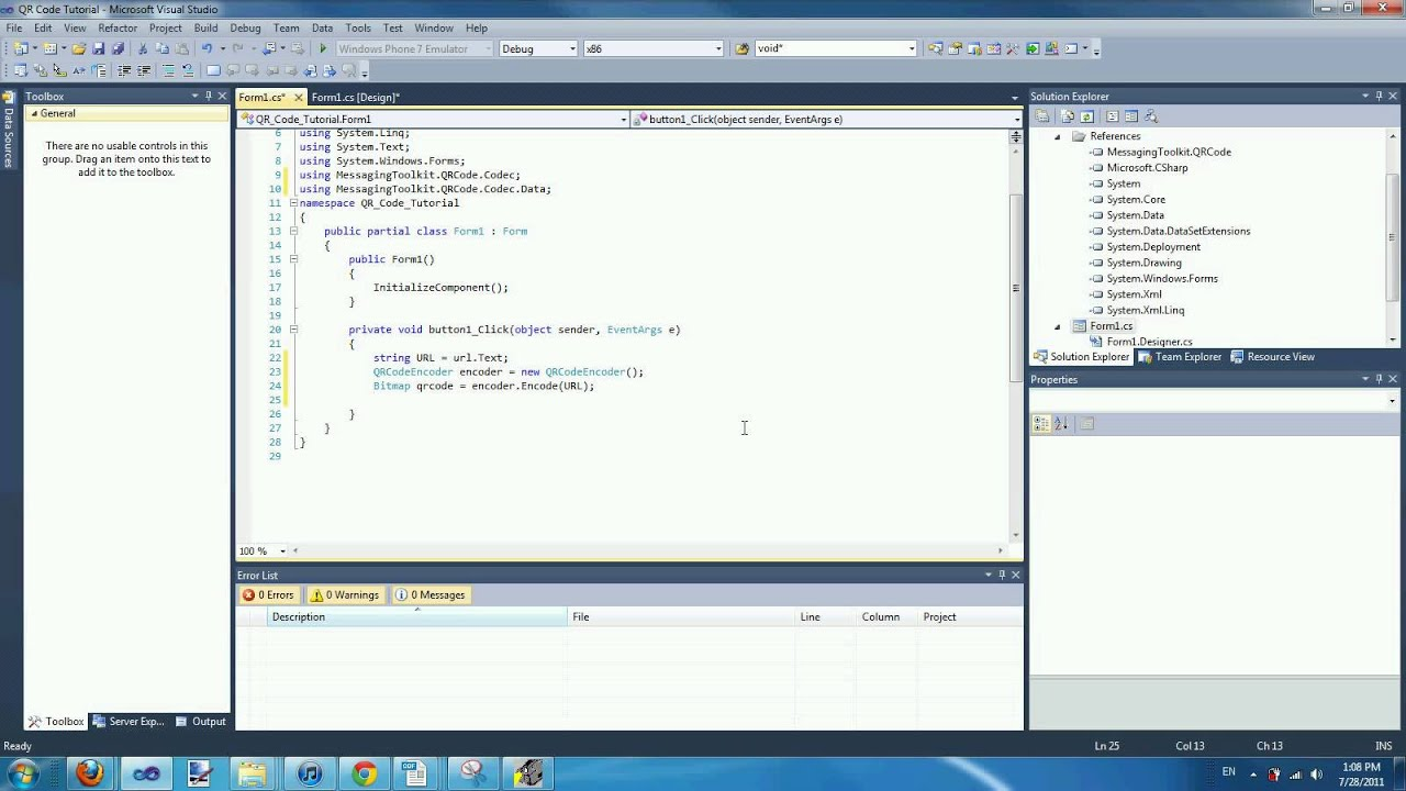 Visual C 2010 Tutorial Qr Code Encoder And Decoder Youtube