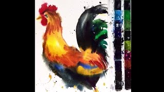 DIY. Clean Color Real Brush Rooster Speed Drawing. Wet to wet Watercolor painting.