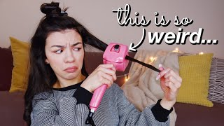 TRYING A REALLY WEIRD HAIR CURLING TOOL