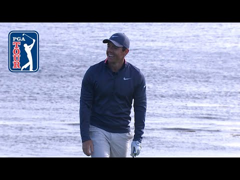 Rory McIlroy's 240-yard iron hits the flag at AT&T Pebble Beach
