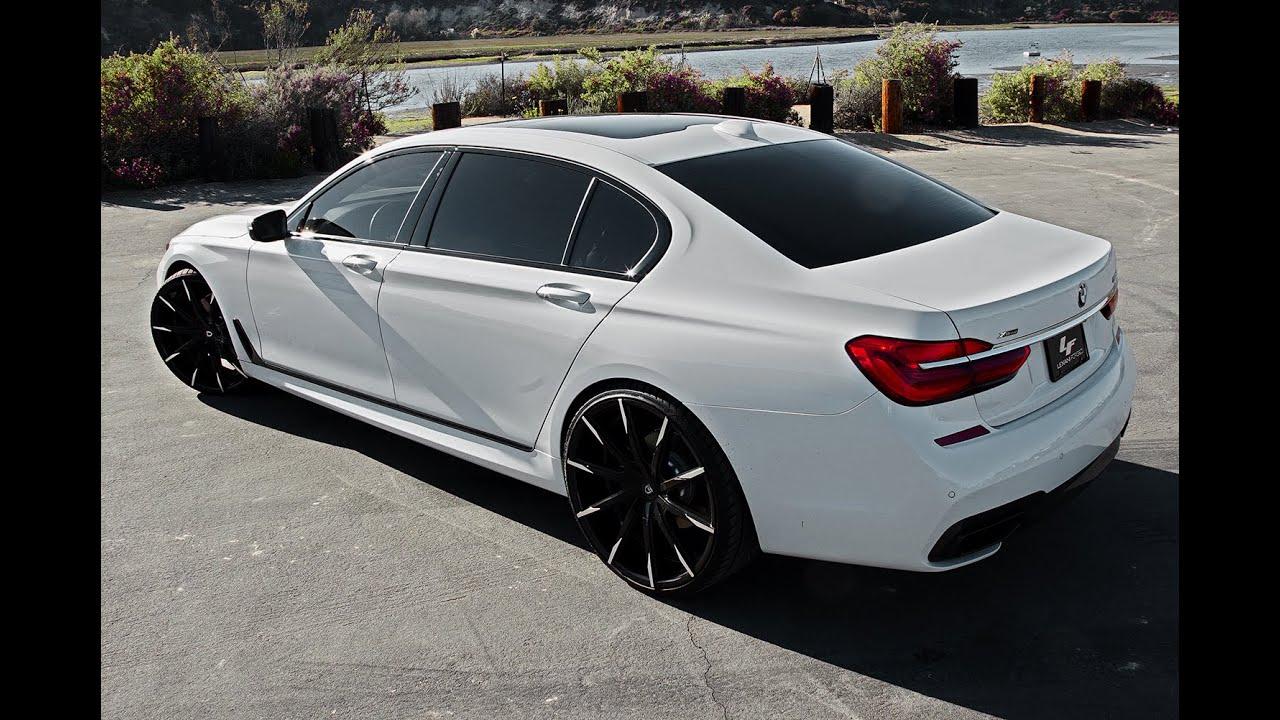 BMW 750i ON 24 Lexani Wheels CSS 15 Black And Machine Tips
