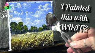 Impasto Landscape with Silverware! - Step by Step Acrylic Painting on Canvas for Beginners