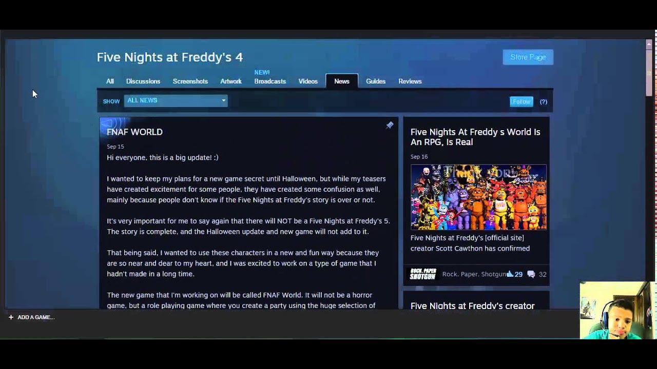 fnaf world on fnaf news on steam page youtube