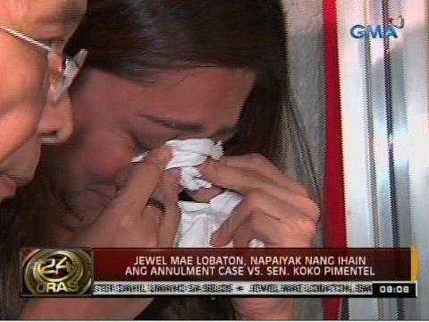 24 Oras: Jewel Mae Lobaton, napaiyak nang ihain ang annulment case vs. Sen. Koko Pimentel