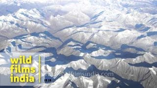 Glaciation and uplift in Ladakh range peaks - Aerial view