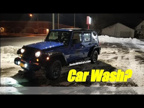 Taking My Jeep Wrangler Soft Top In The Car Wash Freezing Cold