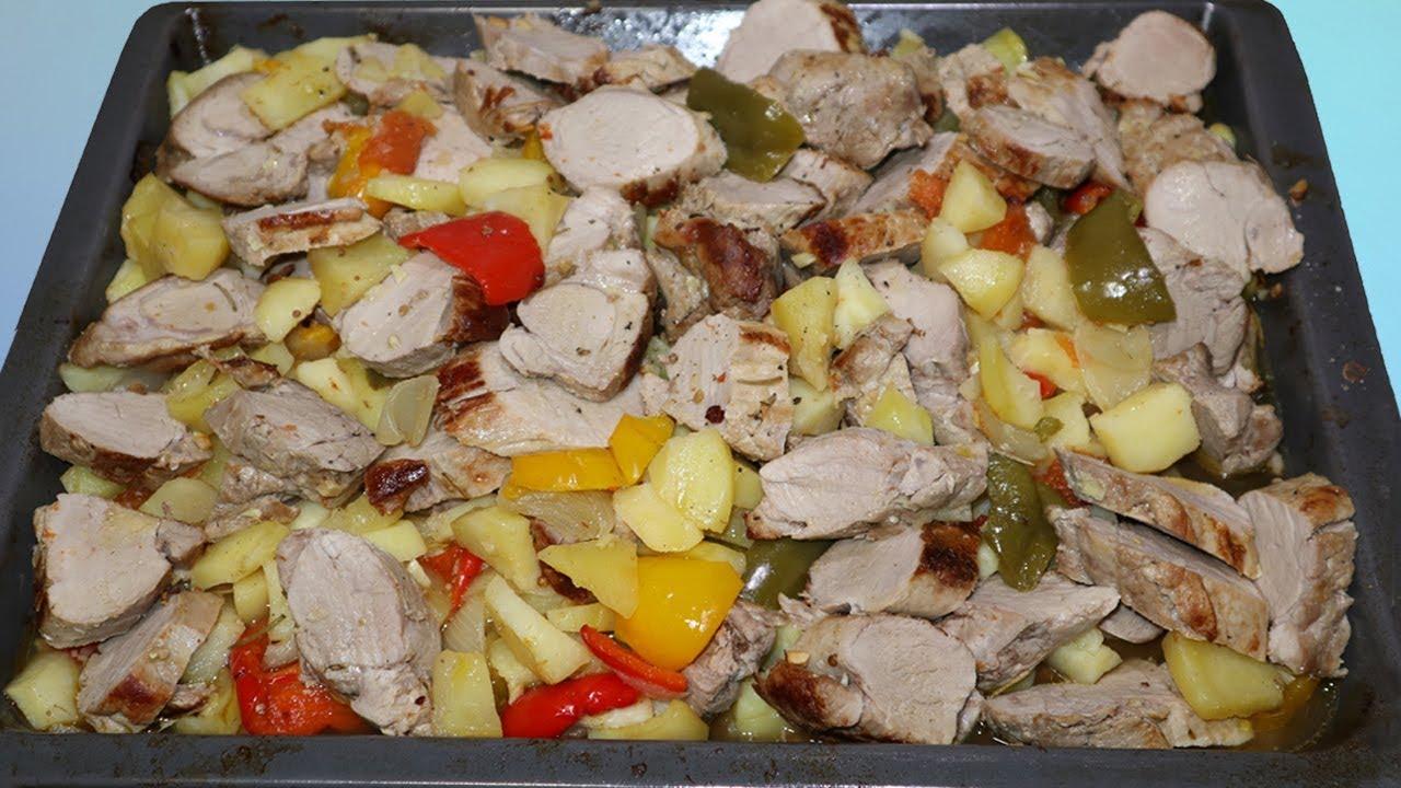 Solomillo de cerdo con patatas y verduras al horno youtube - Solomillo cerdo al horno ...
