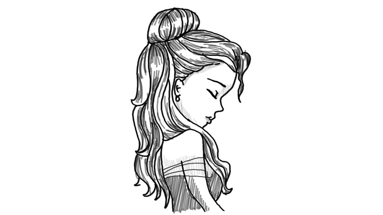 draw easy girl face side