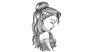 drawing side step face sketch female woman profile simple draw easy drawings sketches paintingvalley