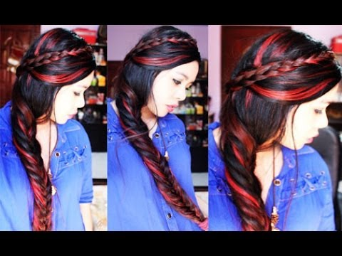 My Qucik Easy On The Go Holiday Hairstyle with Red Highlights on My ...