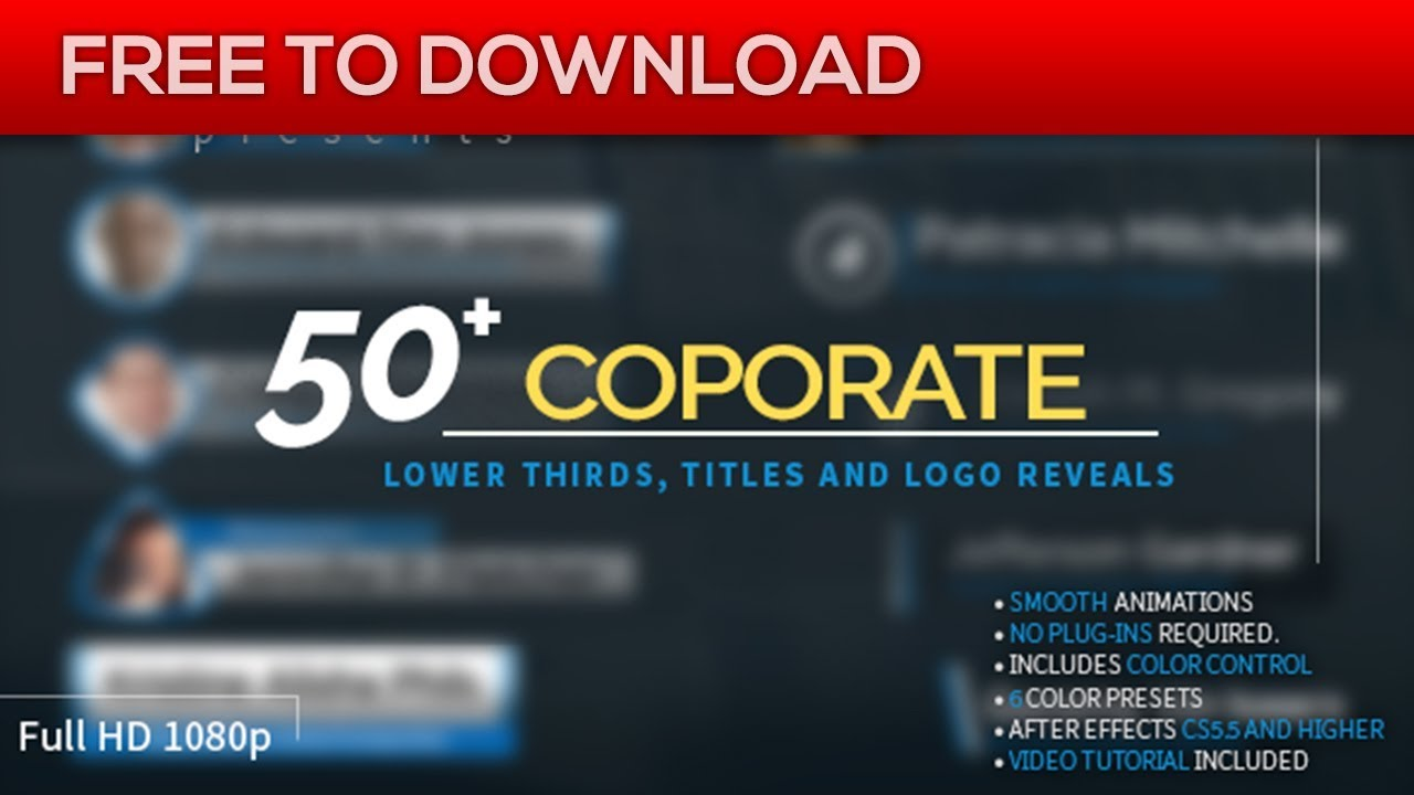 corporate lower thirds titles and logos pack | after effects, Powerpoint templates