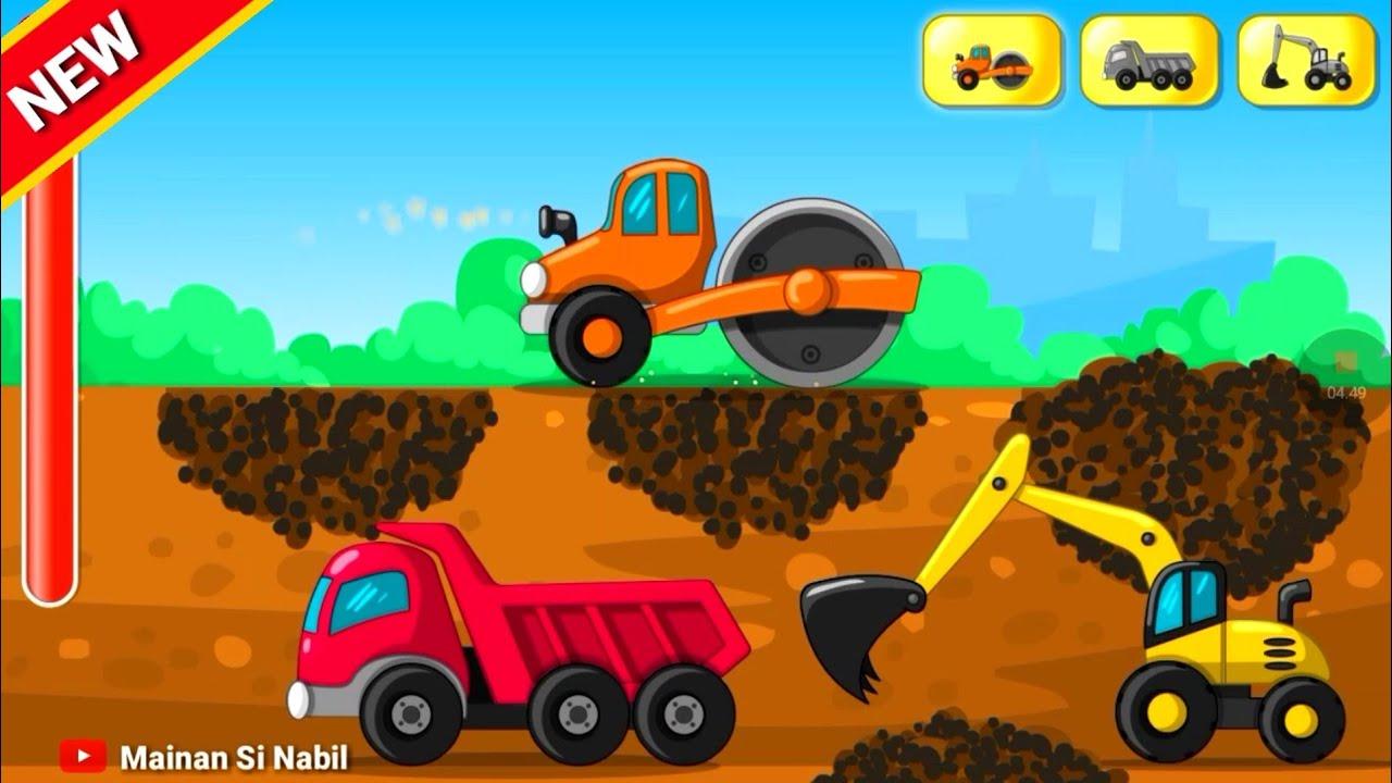 Cartoon Construction Excavator Dump Truck Slender Bego Keruk Dan Mobil Truk Bawa Tanah Urug Youtube