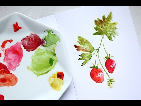Easy Strawberry Watercolour Illustration | Tutorial