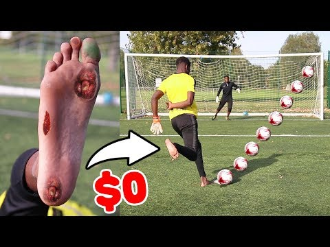 0$ BAREFOOT FOOTBALL BOOTS!! - I Broke my toe??