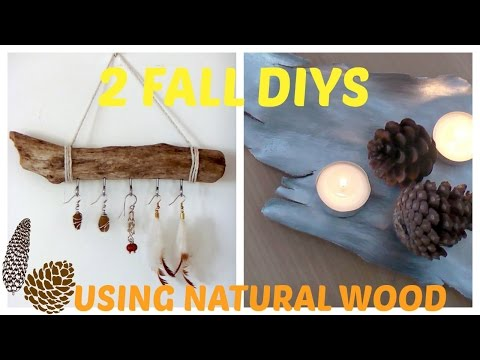 2 Fall DIYs using natural wood!: Jewelry holder and tray