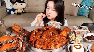 요리 먹방 :) 매운 꽃게찜에 오징어와 새우가득 ~ 가…