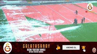 Galatasaray - Akhisarspor maçı öncesi zemin çalışması