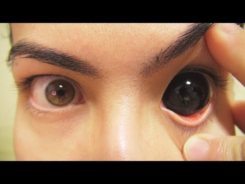 How to: Insert And Remove Black Sclera Contact Lenses (Fxeye