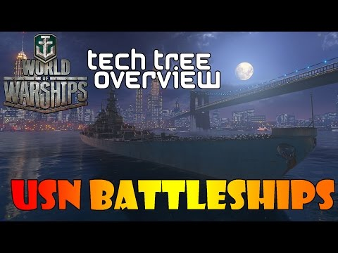 World of Warships - Tech Tree Overview - USN Battleships