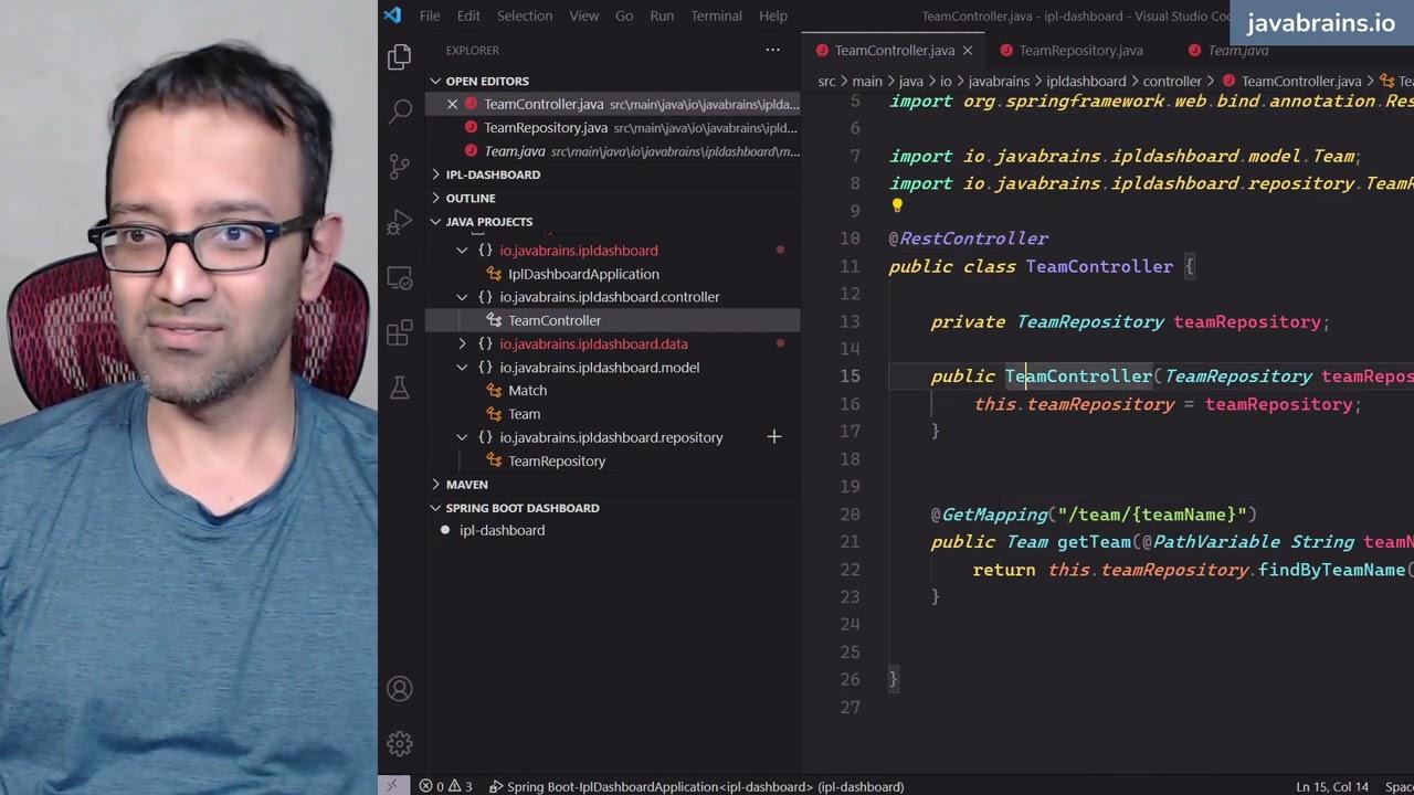 Building the first API Team Info IPL Dashboard - Full Stack Web Development Tutorial