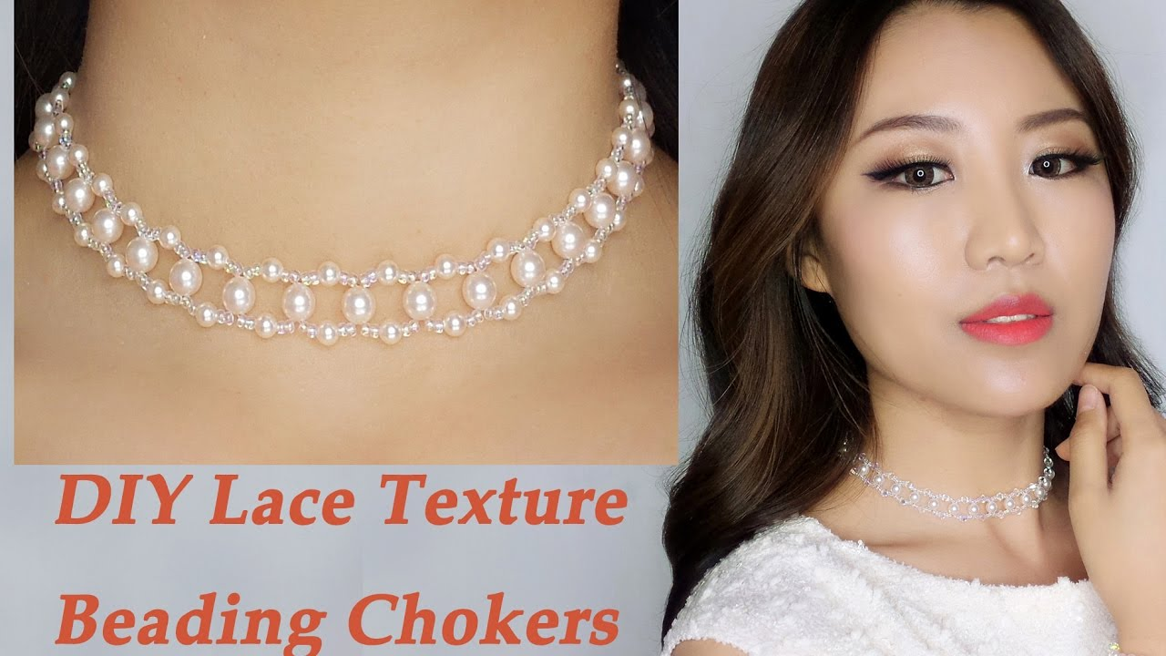 7b7aade84518b Easy DIY Pearl and Crystal Beading Choker Necklace with Lace Texture / DIY  Handmade Jewelry Tutorial