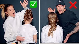 6 HAIRSTYLE HACKS MOM VS DAD