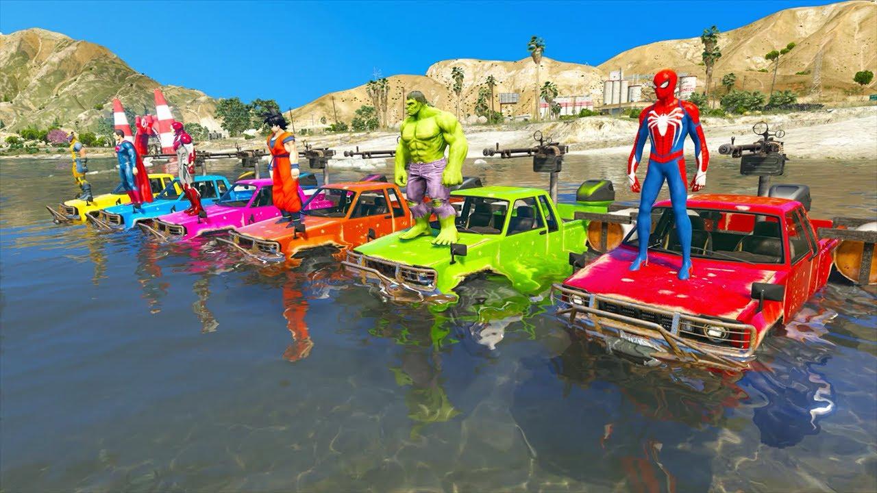 Download hombre araña en carro   spiderman hulk goku ironman offroad water cars GTA 5 challenge