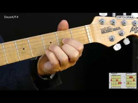 Gitarrenakkorde: D-sus4/F# / Dsus4/F# chord