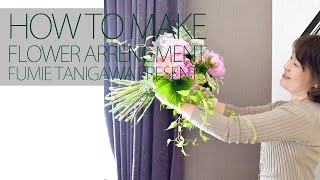 イギリススタイルフラワーアレンジメント/シャクヤクと紫陽花のハンドタイドブーケ