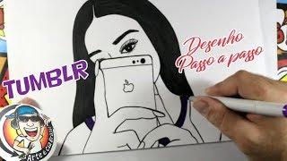 Como desenhar GAROTA TUMBLR com iPhone - passo a passo  How to draw GIRL TUMBLR