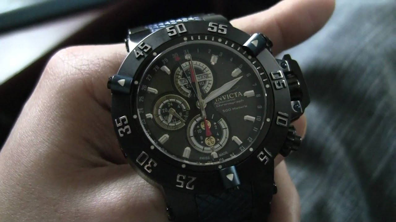 invicta subaqua noma iii model 4550 valjoux 7751 automatic chronograph moonphase test video. Black Bedroom Furniture Sets. Home Design Ideas