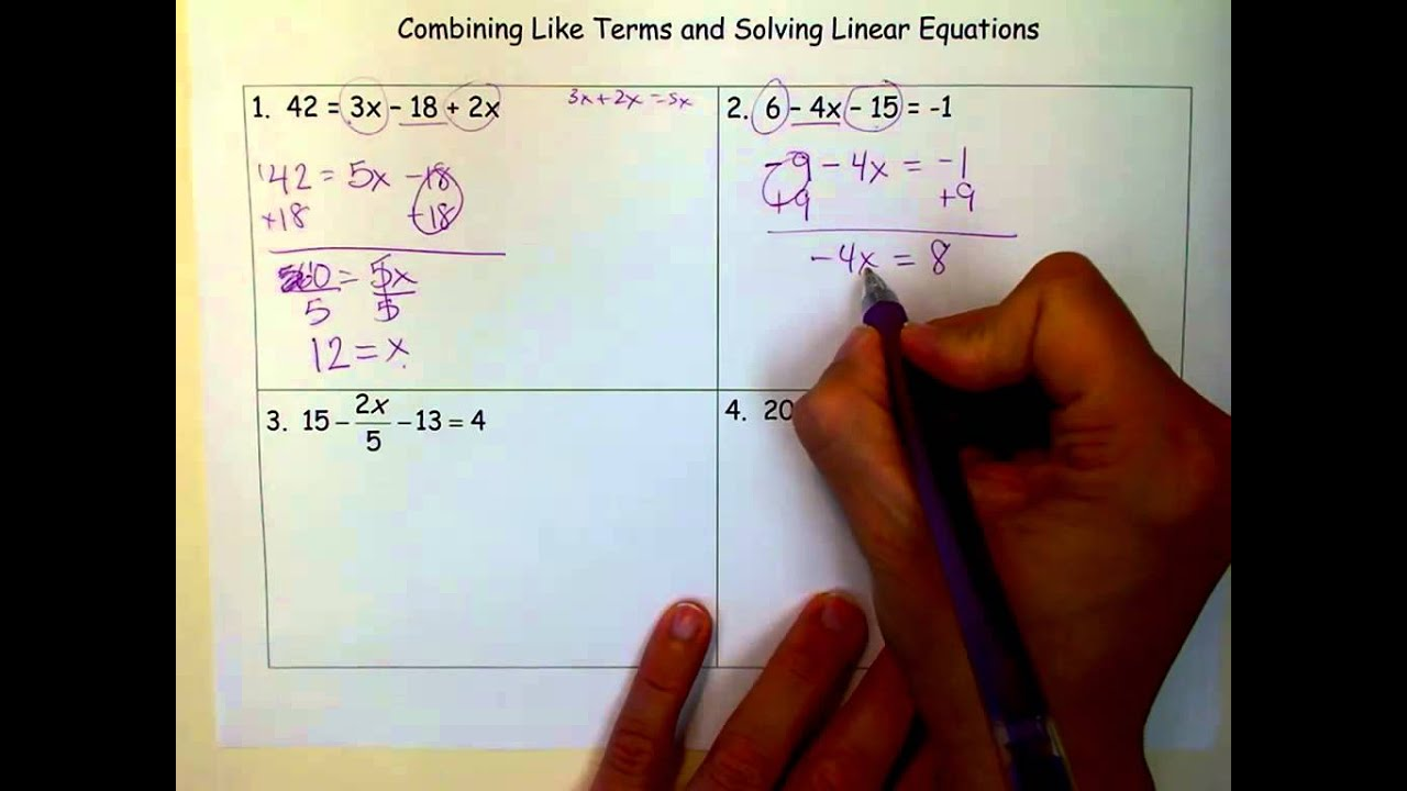 Combining Like Terms Amp Solving Linear Equations