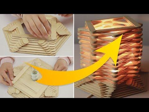 DIY Night Lamp Crafting Idea using Popsicle sticks (2)
