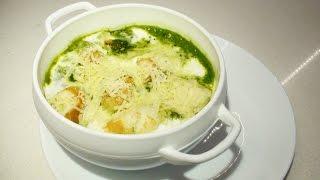 Суп пюре из шпината со сливками / Суп-пюре із шпинату