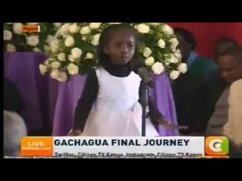 A six year old girls poem moves crowd at Gachagua Funeral