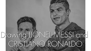 Drawing LIONEL MESSI   CRISTIANO RONALDO   The two G.O.A.T.