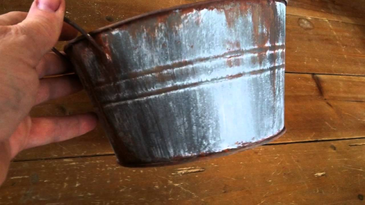 Diy Dollar Tree Bucket With Faux Rusty Galvanized