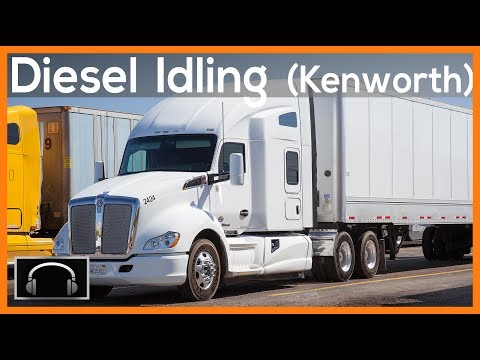 ►10 Hours of Diesel Truck Idling: White Kenworth, semi truck sounds, engine sounds ASMR