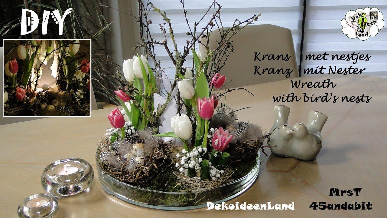 DIY Frühlingsdeko, Kranz Mit Osternester, Tulpen I Krans