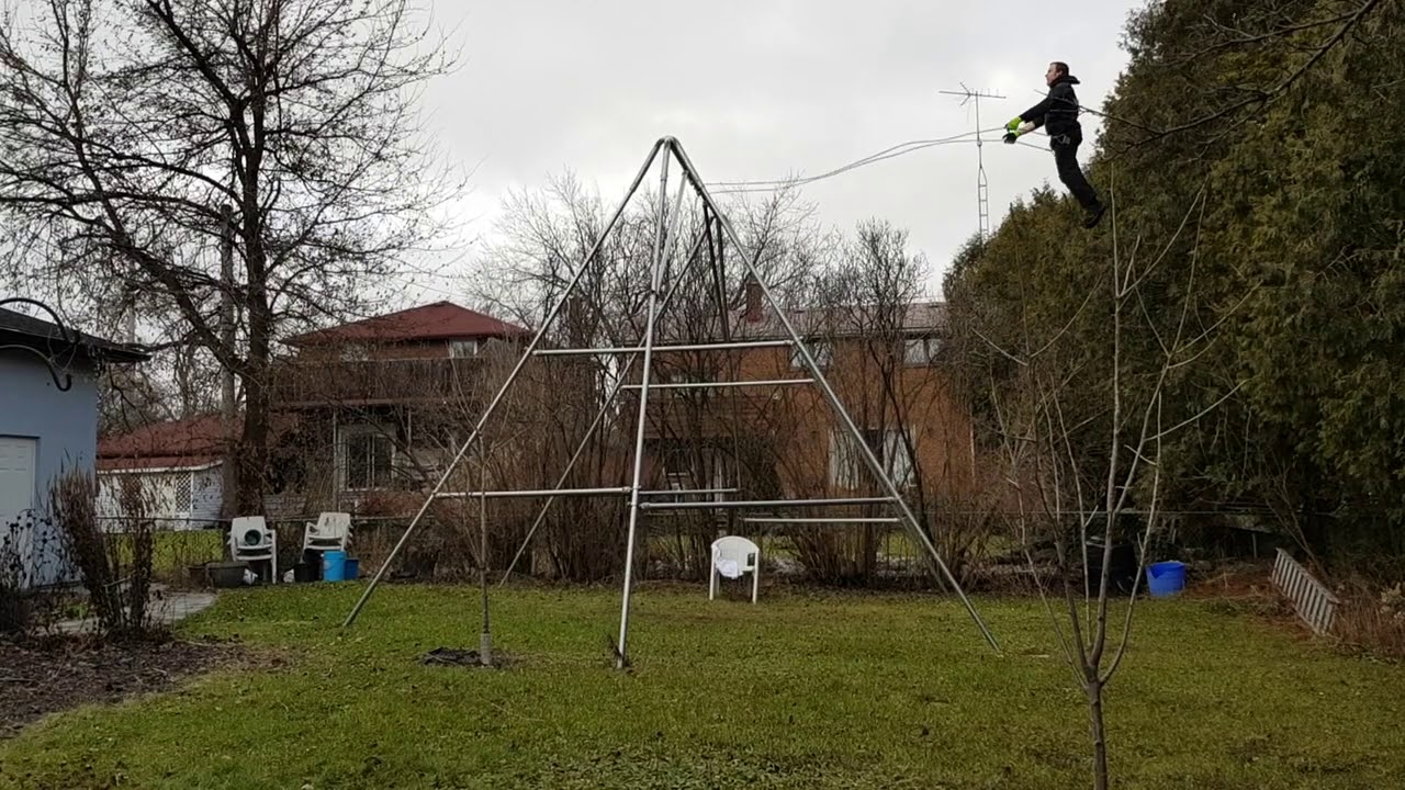 Jeremy On His 16 Foot Tall Swing Set January 2 2019 Youtube