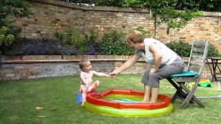 Millie dips feet in paddling pool Thumbnail