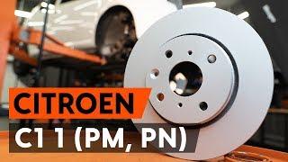 Hvordan udskiftes bremseskiver foran on CITROEN C1 (PM, PN) [UNDERVISNINGSLEKTIONER AUTODOC]