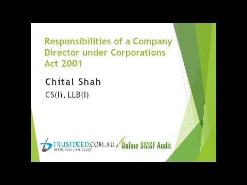 Responsibilities Of A Company Director Under Corporations Act 2001 : Webinar 5/08/2015