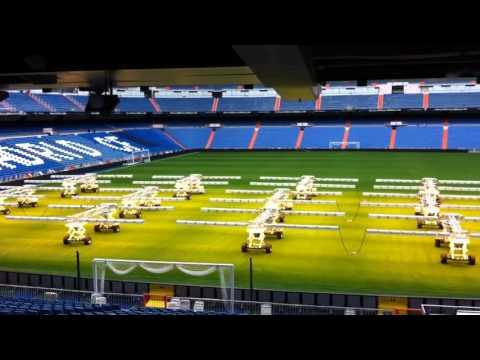 Real Madrid Field Maintenance at Santiago Bernabeu from Stadium Bar