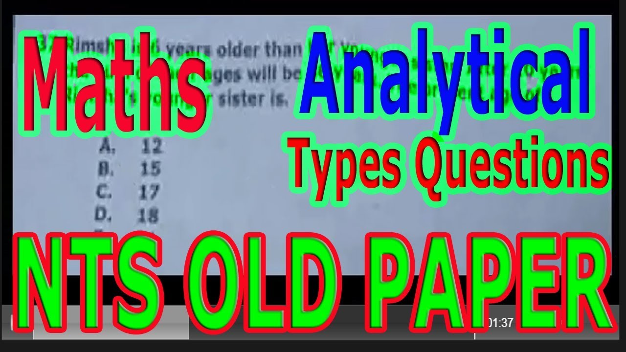 NTS OLD PAPER  Maths  Analytical Types questions with answers
